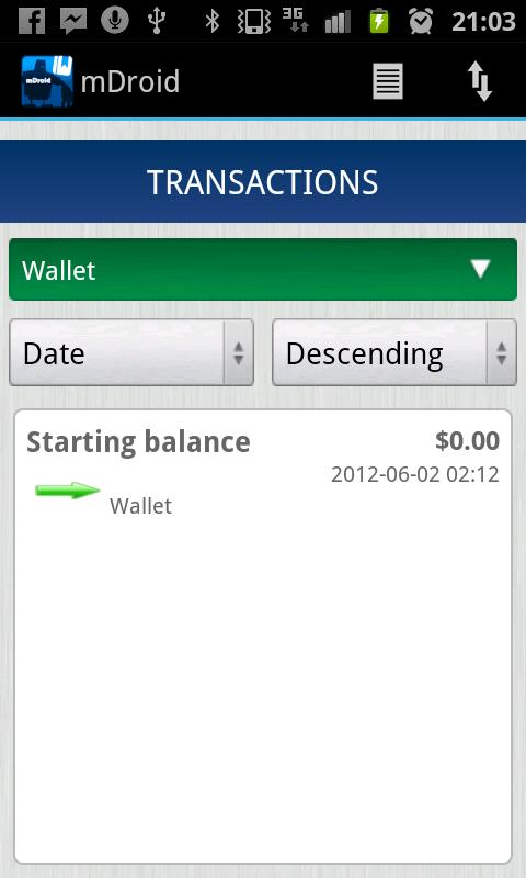 mDroid: Money Manager- screenshot