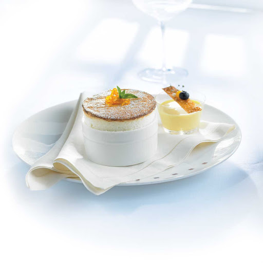 Murano Grand Marnier Souffle - A Grand Marnier souffle served in the Celebrity Cruises restaurant Murano.