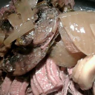 Mushroom Gravy Slow Cooked Rump Roast.