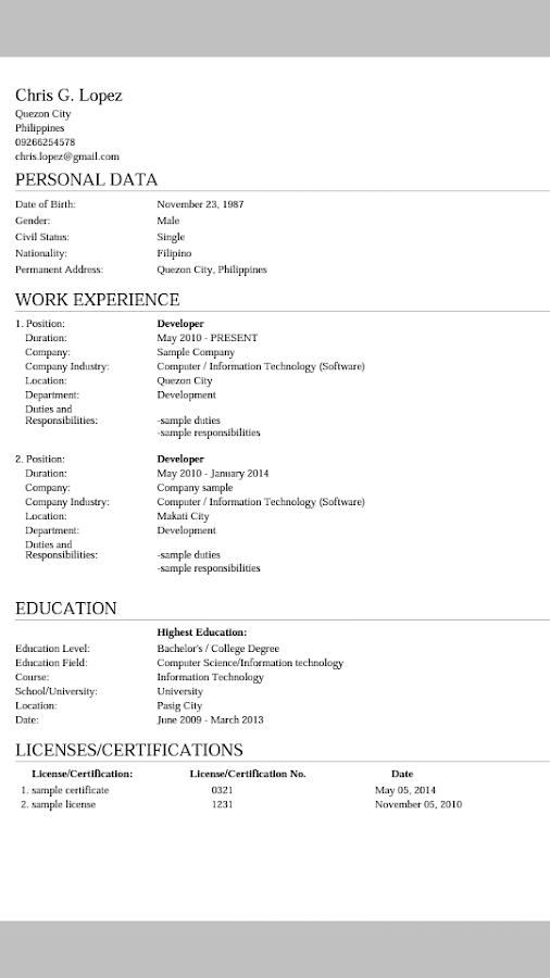 myresume resume creator
