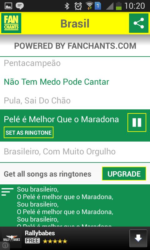 Brazil Songs World Cup 2014 - screenshot
