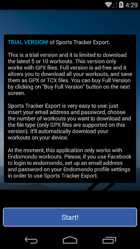 Sports Tracker Export Trial