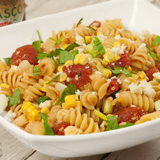 Pasta with Corn, Scallions and Chipotle-Tomato Sauce.