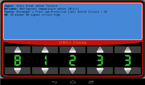 OBDII Trouble Codes Apps for Android screenshot