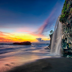 Melasti Beach and Waterfall by Agus Eka Kurniawan - Landscapes Waterscapes ( colour, bali, sky, sunset, waterfall, beach, landscape, cave )