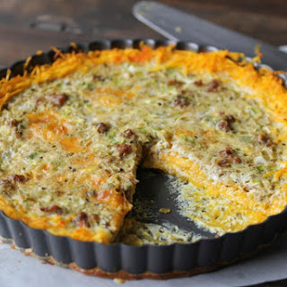Sausage & Green Chili Quiche with Butternut Squash Crust.