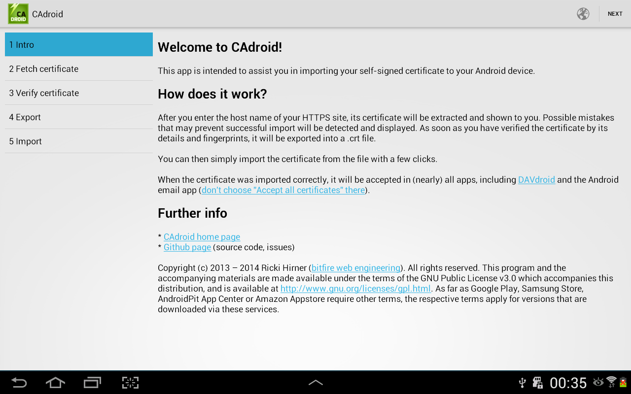 CAdroid – Import Certificates- screenshot