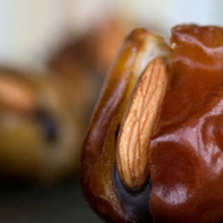 Dates filled with Chocolate Cream and Almonds.