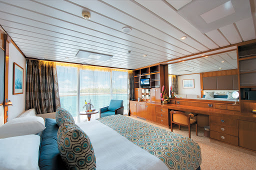 The roomy Veranda Suites on the Paul Gauguin feature butler service and can fit up to four guests by adding two berths with cribs or roll-aways.