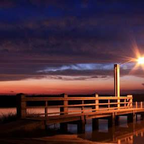 Sunset Dock by Angela Wescovich - Landscapes Waterscapes ( water, sunset, boat launch, pier, dock,  )