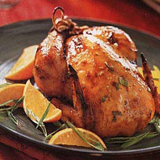 Roast Cornish Game Hens with Orange-Teriyaki Sauce.