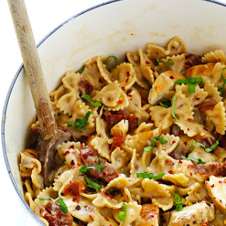 Creamy Pasta with Chicken and Sun-Dried Tomatoes.