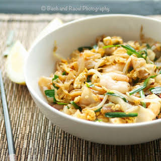 Char Kway Teow - Malayasian Stir Fried Rice Noodles with Shrimp and Garlic Chives.