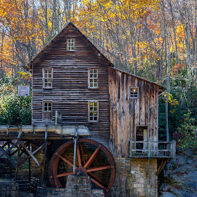 Griss Mill by Jonathon Rader - City,  Street & Park  Historic Districts ( water mill, west virginia, fall, babcock, river,  )