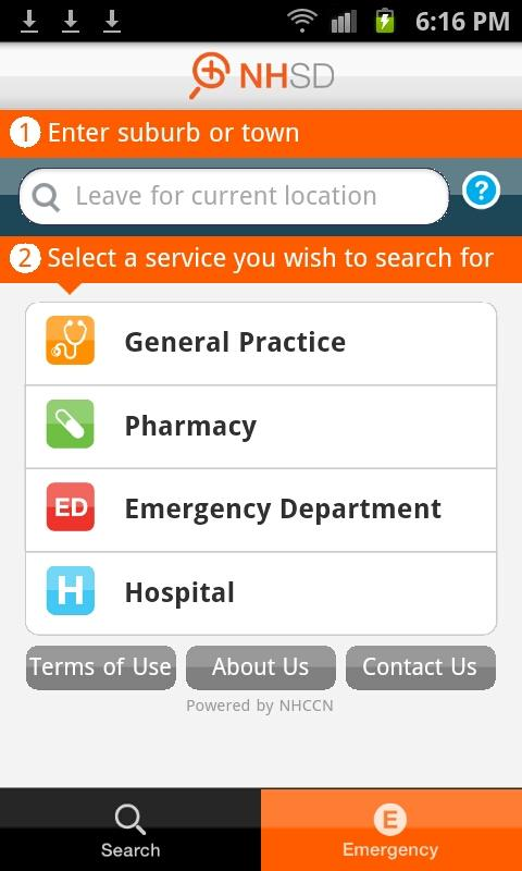NHSD - Find a health service - screenshot