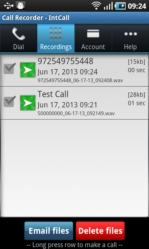 Call Recorder - IntCall - screenshot
