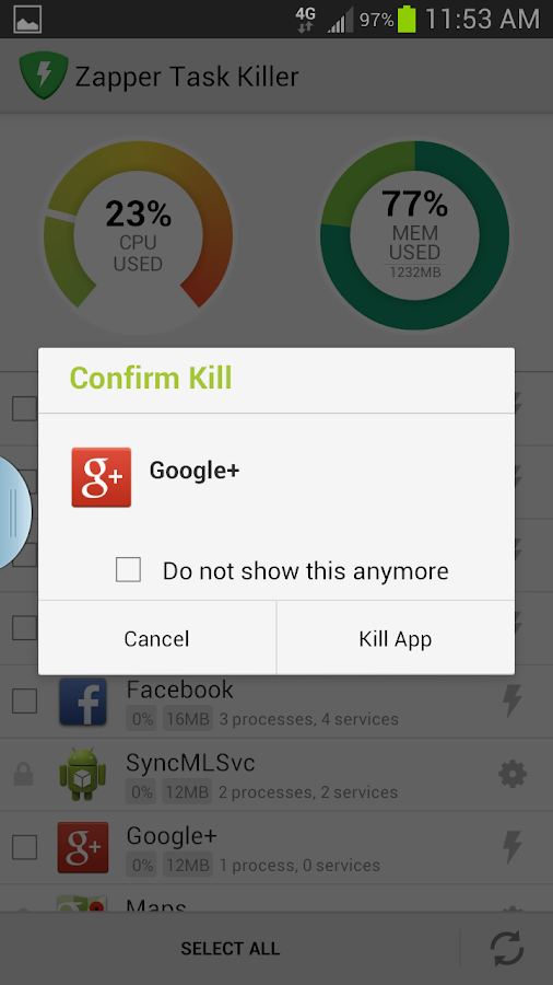 Zapper Task Killer & Manager- screenshot