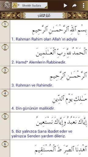 Kur'an-ı Kerim türkçe + Sudais