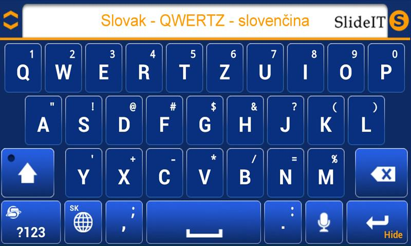 SlideIT Slovak QWERTZ Pack - screenshot