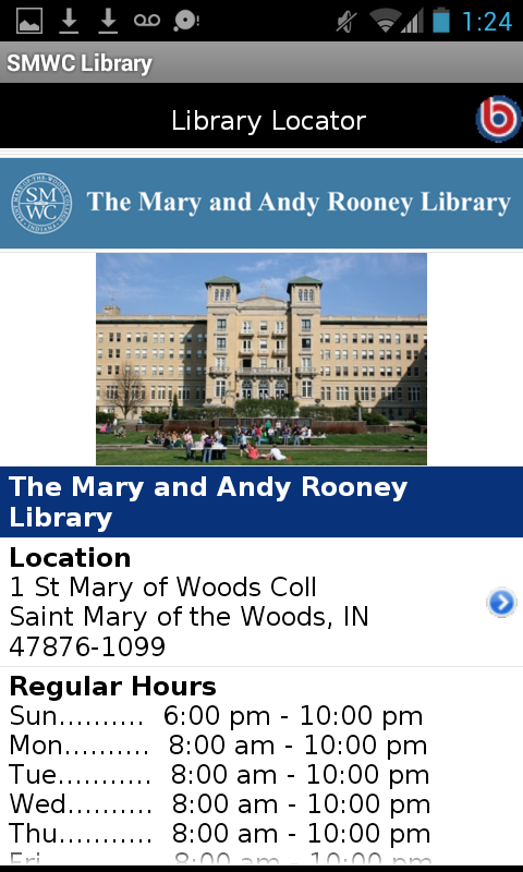St Mary of Woods Coll Library- screenshot