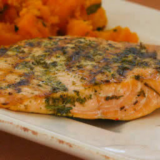 Herb-Encrusted Grilled Salmon.