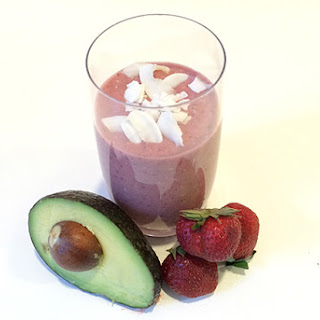 Strawberry Coconut Avocado Smoothie.