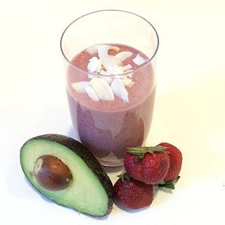 Strawberry Coconut Avocado Smoothie.
