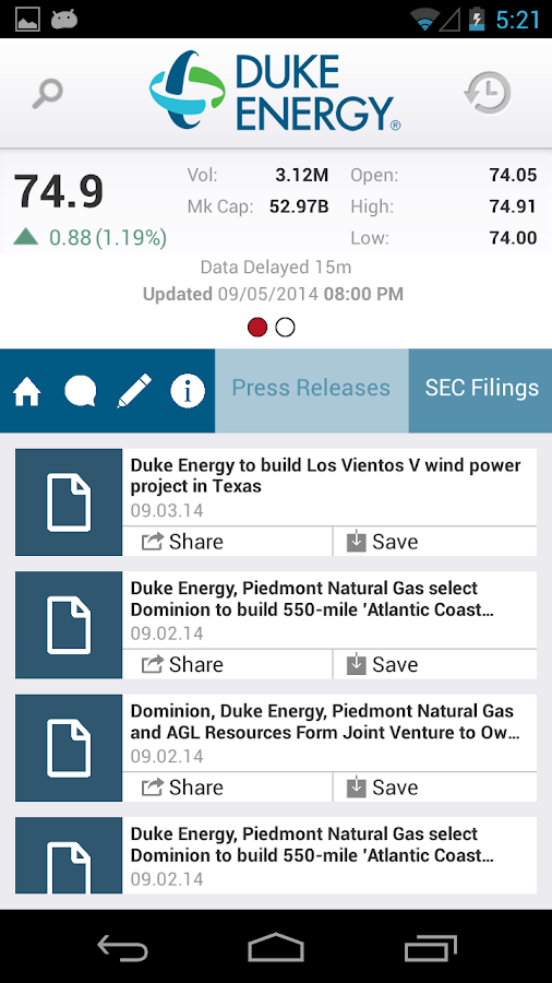 Duke Energy Investor Relations - screenshot
