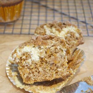 Coffee Cake Carrot Muffins with Cream Cheese Filling.