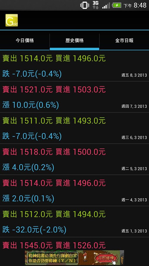 Taiwan Gold Price - screenshot
