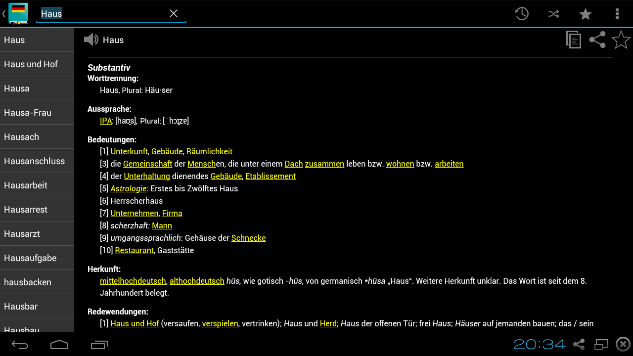 German Dictionary Offline- screenshot