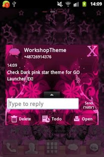 GO SMS Theme Pink Flower - screenshot thumbnail