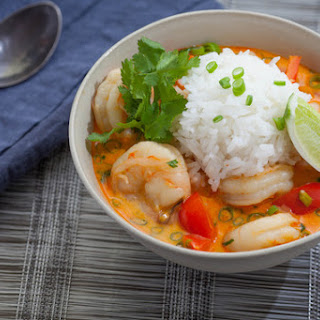 Thai Shrimp Soup with Coconut, Lemongrass & Red Curry.