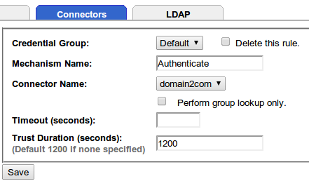 Active directory server connectors tab