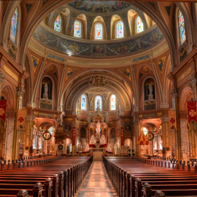OLV Basilica by James Reil - Buildings & Architecture Places of Worship ( religion, lackawanna, hdr, church, pews, dome, roman catholic, basilica, our lady of victory basilica, building, interior, worship )