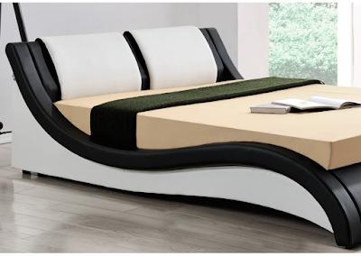 acheter lit 140x190 simili cuir noir et blanc dual marseille chez envie de meubles dilengo. Black Bedroom Furniture Sets. Home Design Ideas
