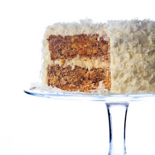 Walnut Carrot Cake with Coconut Cream Cheese Frosting.