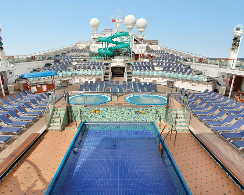 The main pool on the Lido Deck of Carnival Valor.