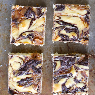 Salted Caramel Mocha Cheesecake Squares.
