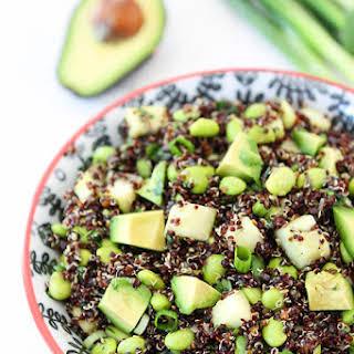 Quinoa Salad with Edamame, Cucumber and Avocado.