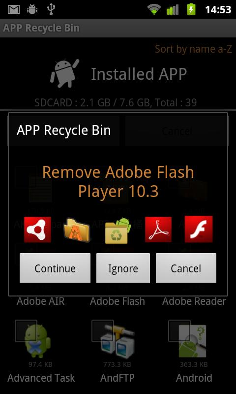 App Recycle Bin Lite - screenshot