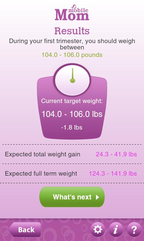 Pregnancy Weight Calculator - screenshot
