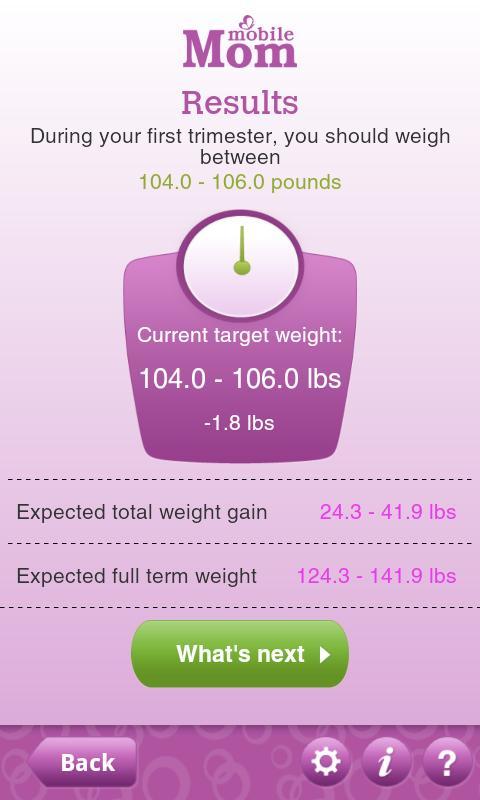 Pregnancy Weight Calculator - screenshot
