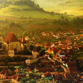 simply Biertan by Nicu Hoandra - City,  Street & Park  Vistas ( hills, fog, castle, spring, colours )