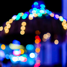 Light Umbrella by Andreea Alexe - Abstract Patterns ( holiday, lights, color, outdoor, umbrella, street, night, bokeh, out of focus,  )