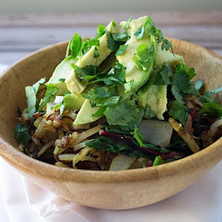 Cheezy Shredded Potatoes with Swiss Chard and Avocado Vegetable Bowl.