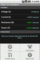 Screenshot of Ohm's Law Calculator
