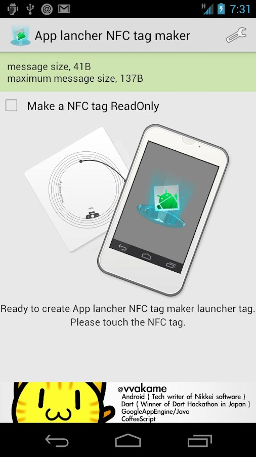 App lancher NFC tag maker - screenshot