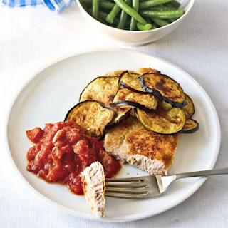 Breadcrumbed Pork With Grilled Aubergine & Spicy Tomato Sauce.
