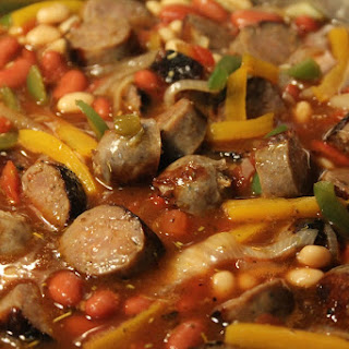Sausage, Peppers and Onions with Beans